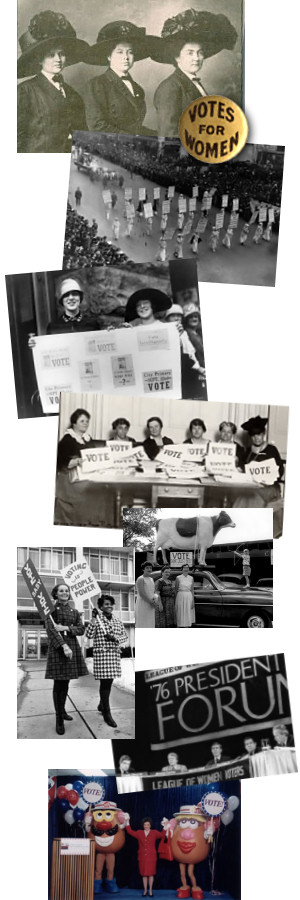 A collage of many historical photos of the League of Women Voters of Kansas through the years.