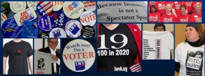 Collage of League members, t-shirts, political buttons.